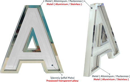 SPECIAL ENGRAVED CHANNEL LETTER | Clear or Opal Acrylic | Stainless Steel Metal Trim | Built Up Letter | Manufacturer | Wholesale | ESMER REKLAM